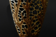 Footed, Pierced and Pyrographed vase